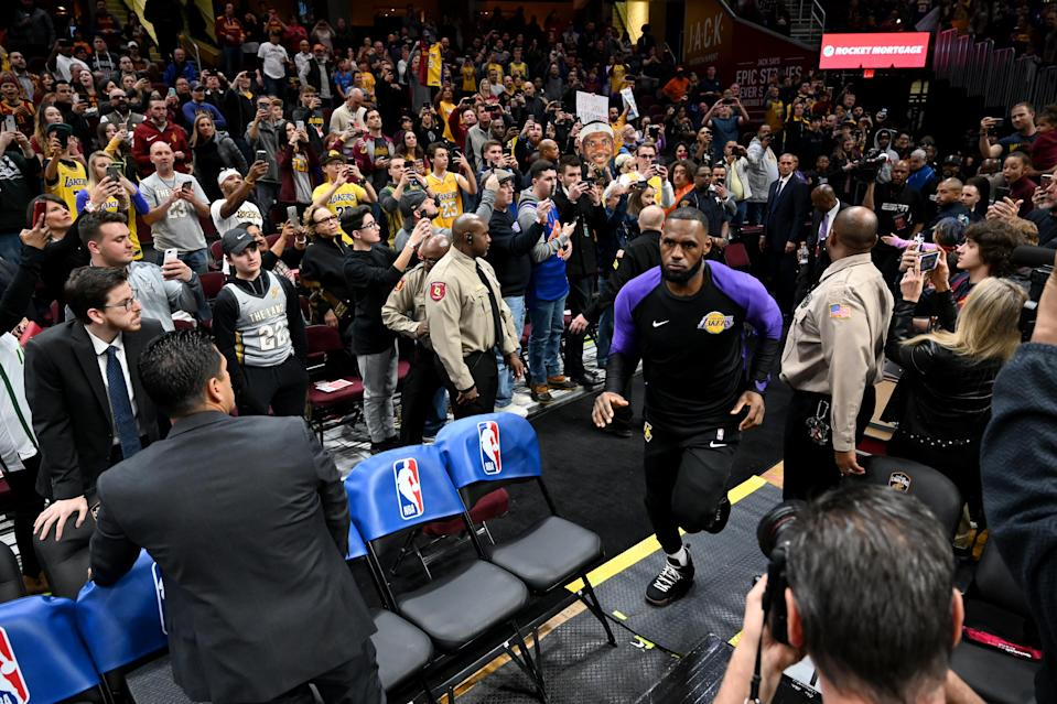 LeBron James' reception in Cleveland Wednesday looked nothing like what he faced while wearing a Miami Heat jersey. (Getty)