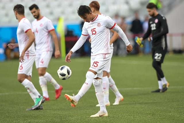 Tunisia's midfielder Ahmed Khalil (C) attends a training session at the Volgograd Arena on the eve of their World Cup Group G match against England (AFP Photo/NICOLAS ASFOURI)