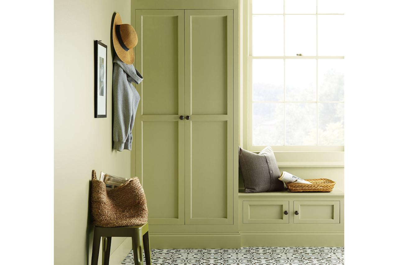 "<p>An earthy green that's restorative, revitalizing, and fresh, <a href=""https://www.behr.com/consumer/inspiration/2020-color-trends/"" target=""_blank"">Back to Nature</a> is Behr's 2020 color of the year and one of 15 shades in its trend report palette, ""inspired by natural elements such as sky, earth, water, and plant life."" Because of its calming, de-stressing effects, Back to Nature is a dynamite choice in a bedroom, home office, or entry.</p>"