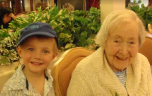 Elsbeth Heisheimer, 97, visited with her young great-grandson, Liam Giroux, just a few weeks before she died in 2009.