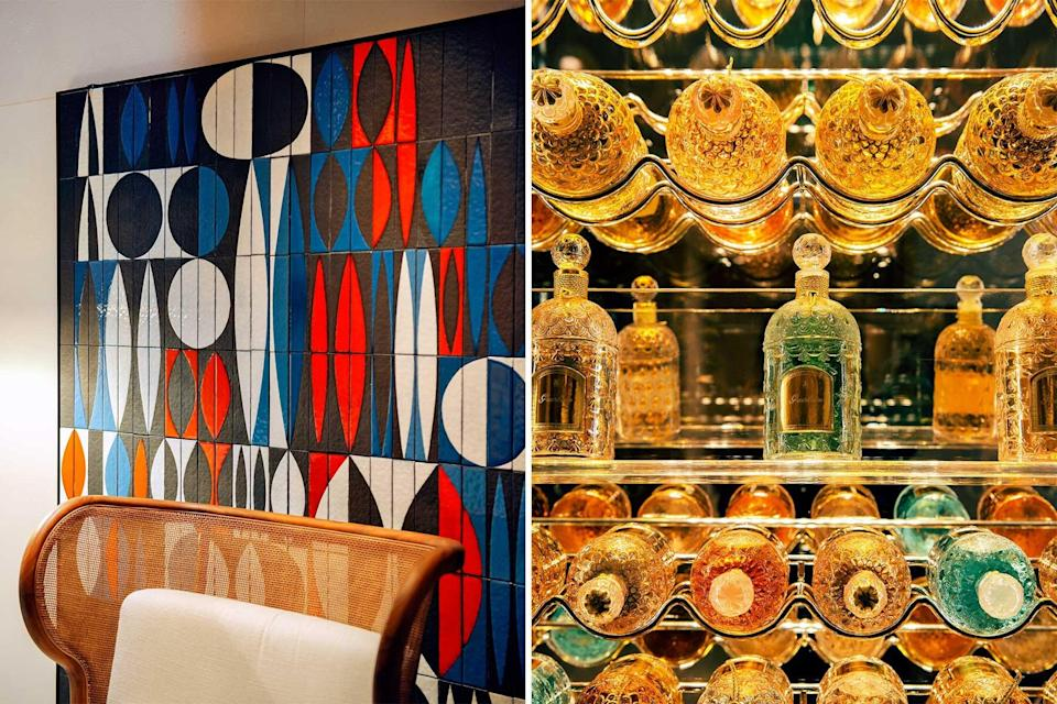 Graphic blue, white and red ceramic tiles at a hotel in St Tropez; a display of vintage perfume bottles