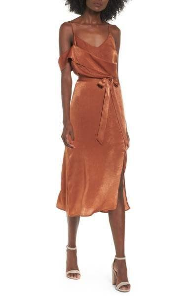 "Get this figure-flattering midi at <a href=""http://shop.nordstrom.com/s/j-o-a-cold-shoulder-midi-dress/4678679?origin=category-personalizedsort&fashioncolor=AMBER%20BROWN"" target=""_blank"">Nordstrom for $85</a>."
