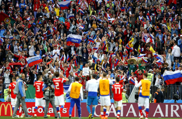 Thanks! Russian players applaud the fans at the Luzhniki Stadium in Moscow