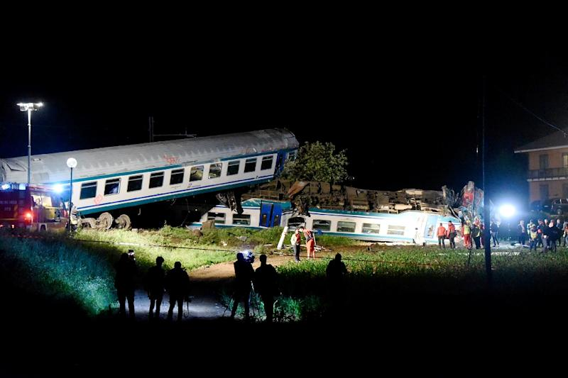 Train plows into truck stuck on tracks in Italy; 1 dead