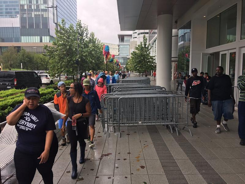 The George R. Brown Convention Center in downtown Houston is being used as a temporary shelter for thousands of displaced residents. (Andy Campbell/HuffPost)