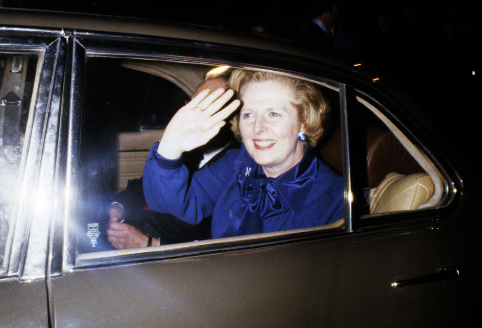 A smile and a wave from Margaret Thatcher who became Britain's first woman Prime Minister following the Conservative victory in the General Election.