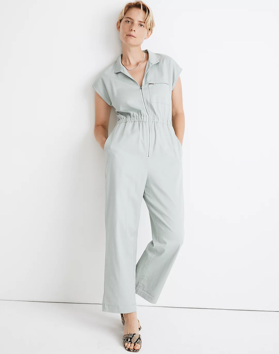 "<br><br><strong>Madewell</strong> Short-Sleeve Zip-Pocket Coverall Jumpsuit, $, available at <a href=""https://go.skimresources.com/?id=30283X879131&url=https%3A%2F%2Fwww.madewell.com%2Fshort-sleeve-zip-pocket-coverall-jumpsuit-AO246.html"" rel=""nofollow noopener"" target=""_blank"" data-ylk=""slk:Madewell"" class=""link rapid-noclick-resp"">Madewell</a>"