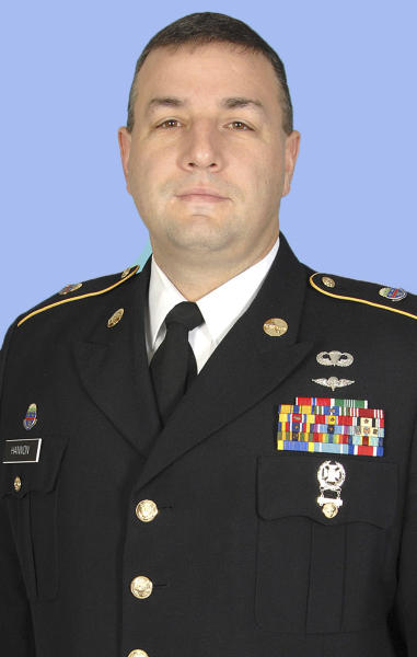 In this undated photo provided by the Ohio National Guard shows Sgt. 1st Class Shawn Hannon. The U.S. Defense Department says Hannon was among three members of the same Columbus-based National Guard unit killed in the Wednesday attack in Maimanah, the capital of Faryab province, in Afghanistan. (AP Photo/Ohio National Guard)