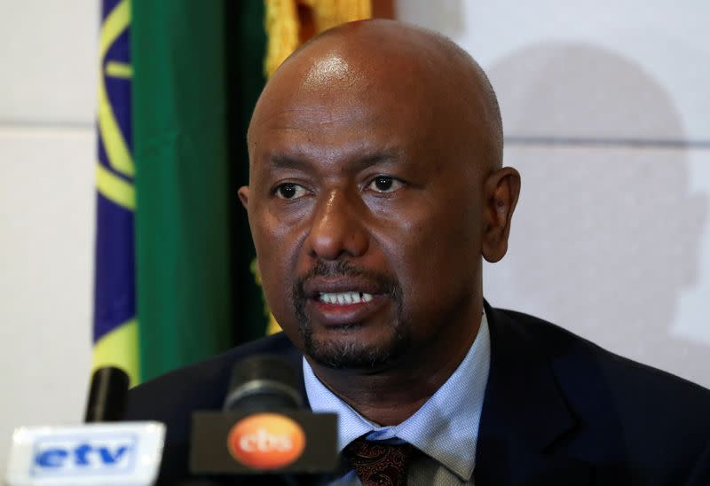 Ethiopian Minister of Water, Irrigation and Energy, Sileshi Bekele, speaks during a news conference in Addis Ababa