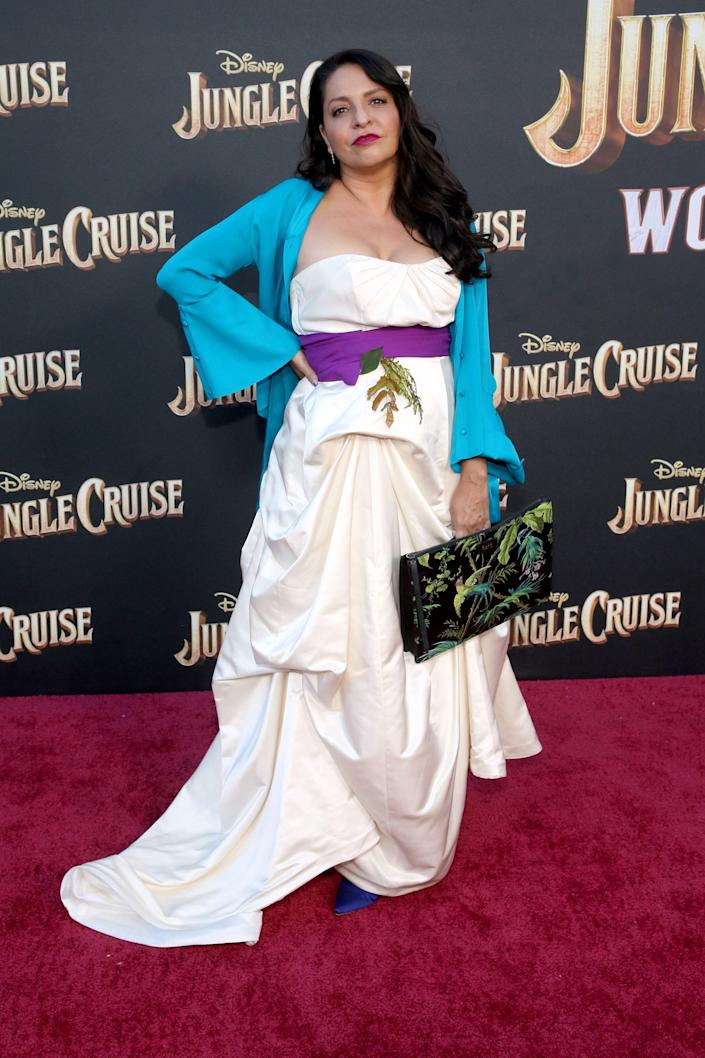 """Veronica Falcón, who plays Trader Sam, attends the July 24 premiere of """"Jungle Cruise."""" Disney has kept the character reveal under wraps."""