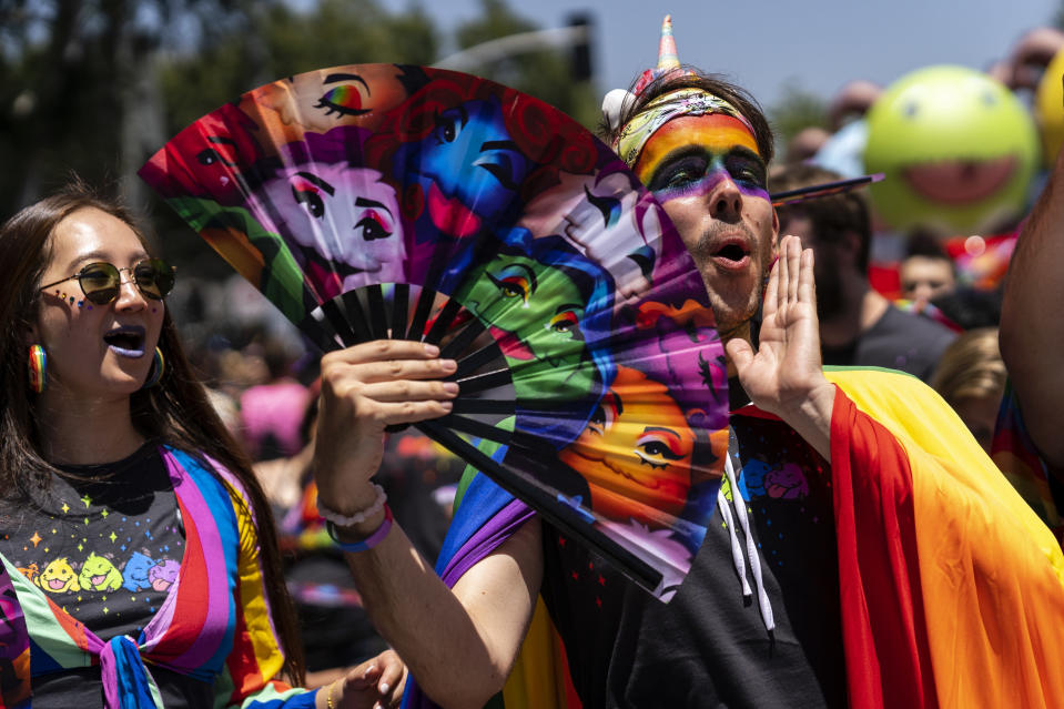 Participants at the LA Pride Parade in West Hollywood, Calif., in 2019. This year's events will be online. (Photo: Ronen Tivony / SOPA Images/SOPA Images/LightRocket via Getty Images)