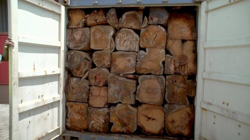 Rosewood packed in a lorry