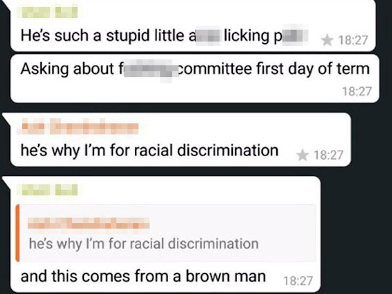 Racial slurs, derogatory terms and rape 'jokes' all feature in the private messages: @arsaIanm/Twitter
