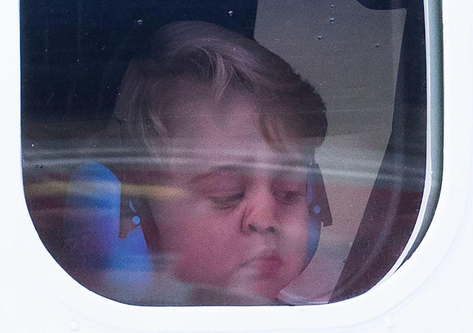 """<p>Because that's just what kids do when they're in the car or on an airplane. Or, if you're Prince George, on your family's private royal sea plane. Hopefully, <a href=""""https://www.goodhousekeeping.com/life/a21999787/prince-louis-godparents/"""" rel=""""nofollow noopener"""" target=""""_blank"""" data-ylk=""""slk:Kate and Will"""" class=""""link rapid-noclick-resp"""">Kate and Will</a> had some window cleaner on board to take care of his little nose marks! </p>"""