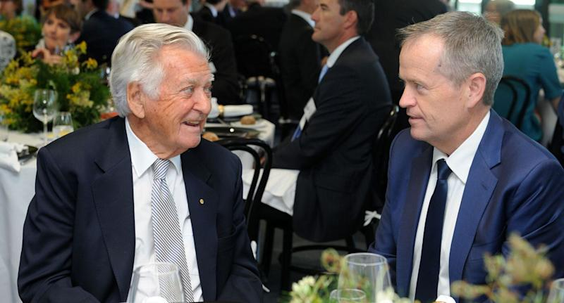 Federal Leader of the Opposition Bill Shorten with former prime minister Bob Hawke at a function after Mr Hawke received an honorary degree from the University of Sydney in December 2016.
