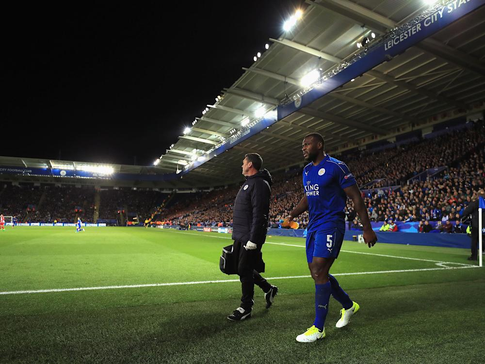 Wes Morgan was substituted off in Leicester's 1-1 draw with Atletico Madrid last week: Getty