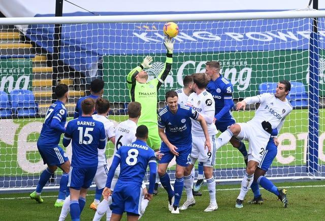 Kasper Schmeichel made a string of impressive saves in the first half
