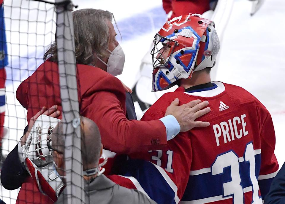MONTREAL, QC - June 24: Montreal Canadiens General Manager Marc Bergevin celebrates with goalie Carey Price #31 after defeating the Vegas Golden Knights in Game Six of the Stanley Cup Semifinals of the 2021 Stanley Cup Playoffs at the Bell Centre on June 24, 2021 in Montreal, Quebec, Canada. (Photo by Francois Lacasse/NHLI via Getty Images)