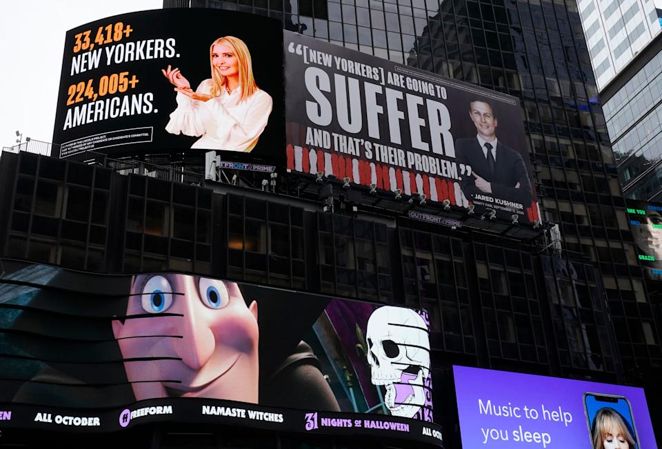 <p>In Times Square, billboards are currently on prominent display savaging Ivanka and Jared</p>AFP/Getty