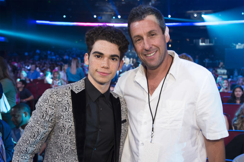 Adam Sandler and Cameron Boyce are pictured at 2017 Radio Disney Music Awards. Boyce starred with Sandler in the Grown Ups movies.