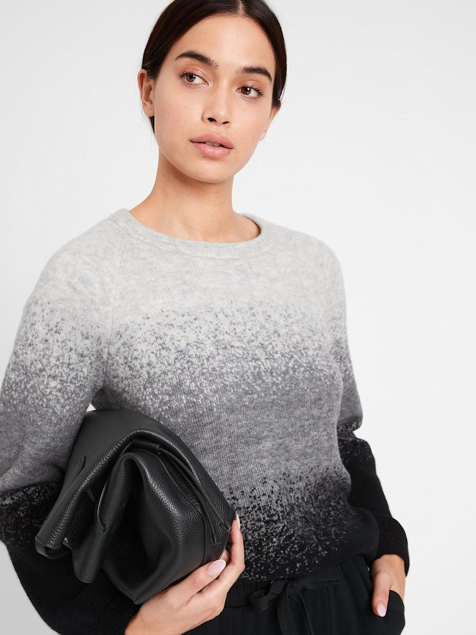 <p>Or perceived texture like this <span>Banana Republic Aire Ombré Sweater</span> ($110). It reminds us of snow falling. How perfect for the season!</p>