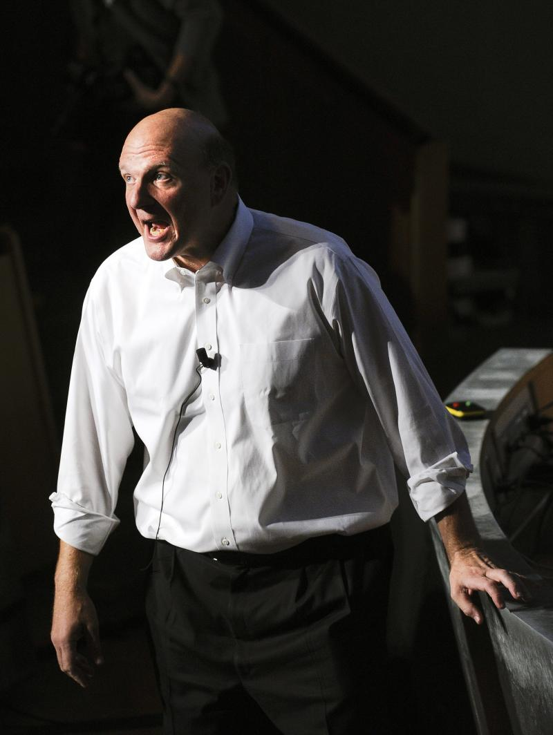 Steve Ballmer, CEO of American software giant Microsoft talks to students of the Royal Institute of Technology in Stockholm, Sweden, on  Monday Oct. 4 2010.  (AP photo/Scanpix Sweden/Anders Wiklund)  **  SWEDEN OUT  **