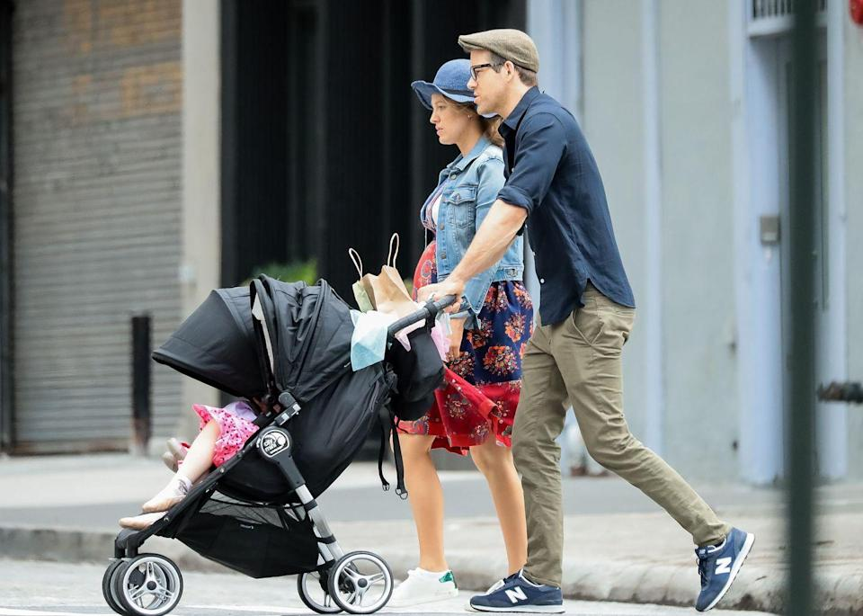 """<p><a href=""""https://www.elle.com/uk/life-and-culture/a28128701/blake-lively-pregnancy-picture-ryan-reynolds/"""" rel=""""nofollow noopener"""" target=""""_blank"""" data-ylk=""""slk:A family walk"""" class=""""link rapid-noclick-resp"""">A family walk</a> around New York City. </p>"""