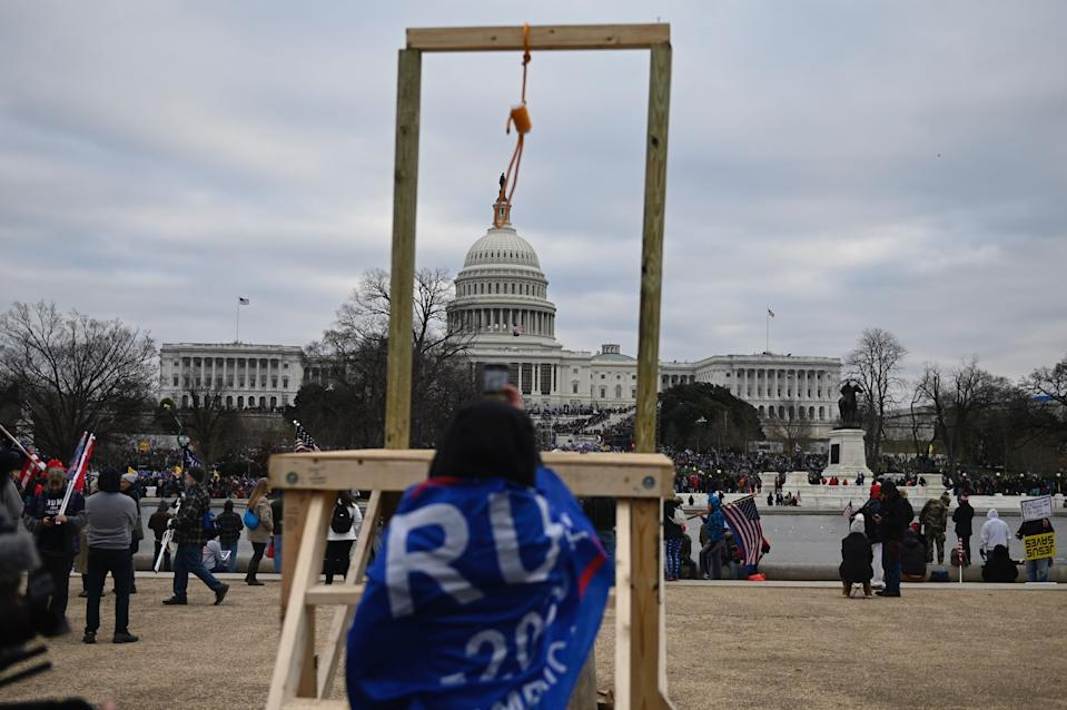 Supporters of US President Donald Trump gather across from the US Capitol on January 6, 2021, in Washington, DC. (Photo by ANDREW CABALLERO-REYNOLDS/AFP via Getty Images)