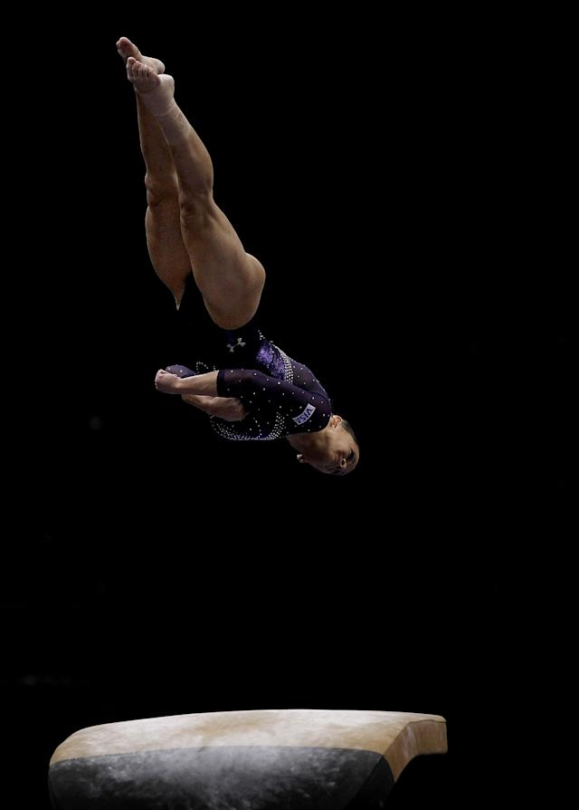 ST PAUL, MN - AUGUST 20: Alicia Sacramone competes on the vault during the Senior Women's competition on day four of the Visa Gymnastics Championships at Xcel Energy Center on August 20, 2011 in St Paul, Minnesota. (Photo by Ronald Martinez/Getty Images)
