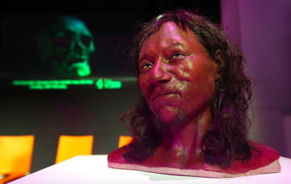 <em>Previous reconstructions of Cheddar Man, which were not based on DNA data, depicted him with a lighter skin tone (PA)</em>