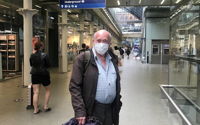 Retired accountant Richard Wilkins, 83, from Dorset was trying to get onto an earlier Eurostar train to pass through France into Switzerland before the quarantine restrictions become enforced. (SWNS)
