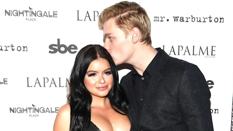 Ariel Winter Turns Heads on Red Carpet in Sequin Black Mini-Dress, Gets a Smooch From Boyfriend Levi Meaden