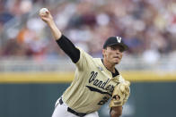 Vanderbilt pitcher Jack Leiter throws during the first inning against Mississippi State in Game 1 of the NCAA College World Series baseball finals, Monday, June 28, 2021, in Omaha, Neb. (AP Photo/Rebecca S. Gratz)