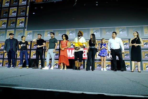 The Cast of Marvel Studios' The Eternals appear at the San Diego Comic-Con,  July 20, 2019 in San Diego, Calif.