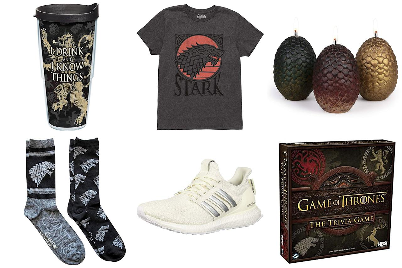 """<a rel=""""nofollow"""" href=""""https://people.com/tv/game-of-thrones-season-8-episode-1-recap/""""><i>Game of Thrones</i> is officially back</a> and to celebrate its return, we rounded up 20 pieces of fun fan gear you can get fast (like before the next episode premieres, fast) on Amazon thanks to its <a rel=""""nofollow"""" href=""""https://www.amazon.com/amazonprime/ref=as_li_ss_tl?ie=UTF8&linkCode=ll2&tag=polifegameofthronesgiftsmerchandiseamazonjmattern0419-20&linkId=a69883f81eb1bdd8def7f2e9fd49fe73&language=en_US"""">Prime shipping</a>.  Whether you're celebrating (spoiler alert!) the Stark sibling reunion or preparing yourself for the death of your favorite character (sorry folks, it could happen!), a little retail therapy is no doubt in order. You only live once — unless you're Jon Snow, so we say treat yourself or the biggest <i>Game of Thrones</i> fan you know to one of these fun finds before the long night arrives."""