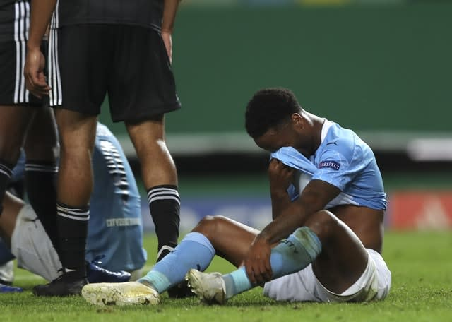 Raheem Sterling reacts at full-time