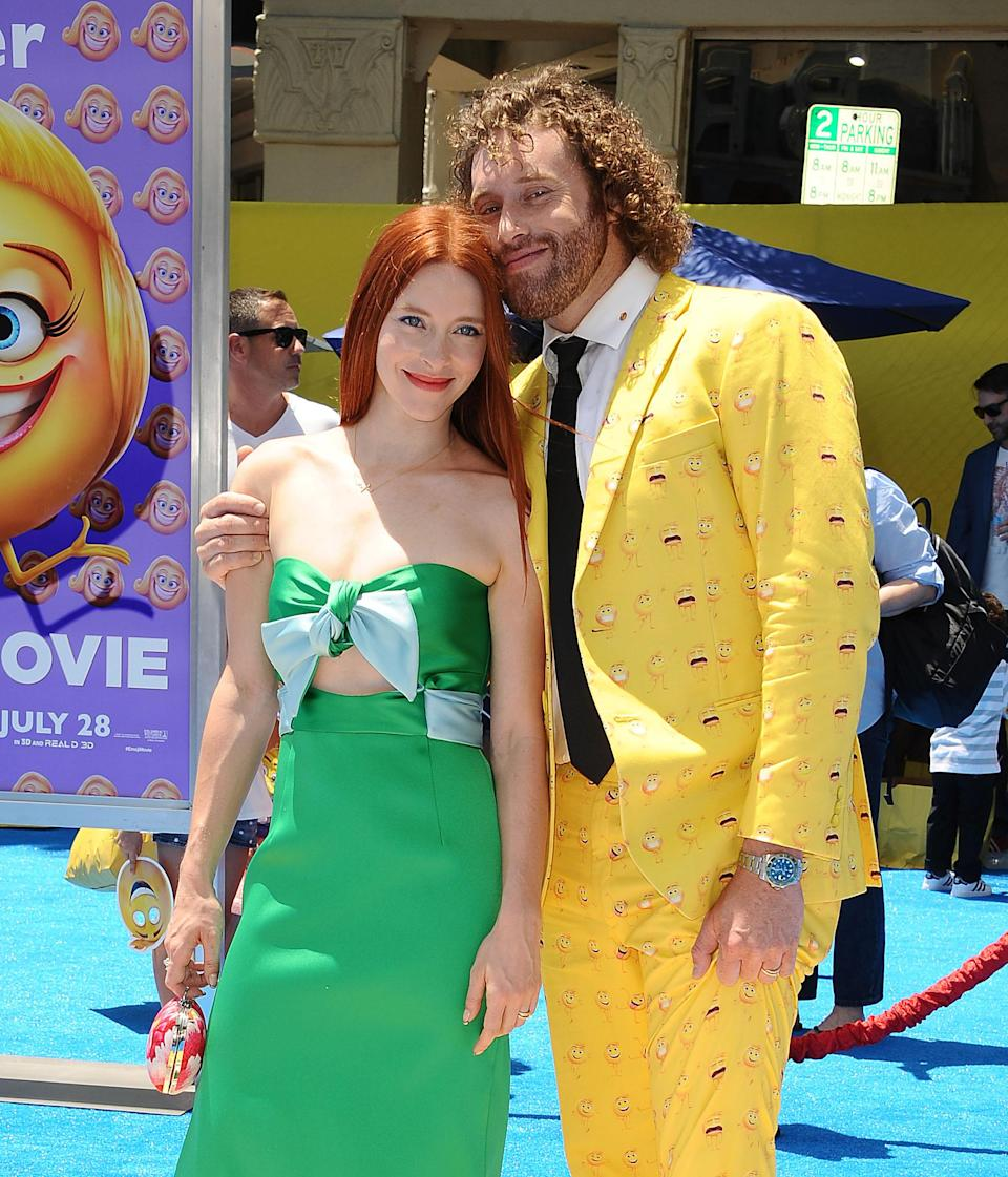T.J. Miller and his wife, Kate Gorney, at the premiere of <em>The Emoji Movie</em> on July 23, 2017. (Photo: Jason LaVeris/FilmMagic)