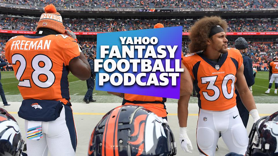 On the latest Yahoo Fantasy Football Podcast, Liz Loza and Matt Harmon investigate some unconventional fantasy takes including a flip of last year's roles for Denver Broncos running backs Royce Freeman and Phillip Lindsay. (Photo by Joe Amon/The Denver Post via Getty Images)