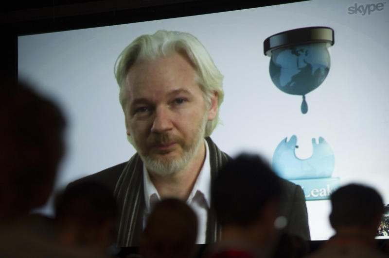 Julian Assange, founder of the WikiLeaks website, speaks during a panel discussion at the South By Southwest (SXSW) Interactive Festival in Austin, Texas, U.S., on Saturday, March 8, 2014. (David Paul Morris/Bloomberg via Getty Images)