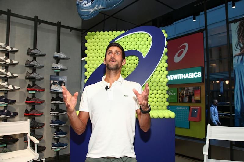 Professional tennis player Novak Djokovic makes an appearance at the ASICS Flagship Store on Wednesday, Aug. 22, 2018, in New York. (Photo by Andy Kropa/Invision/AP)