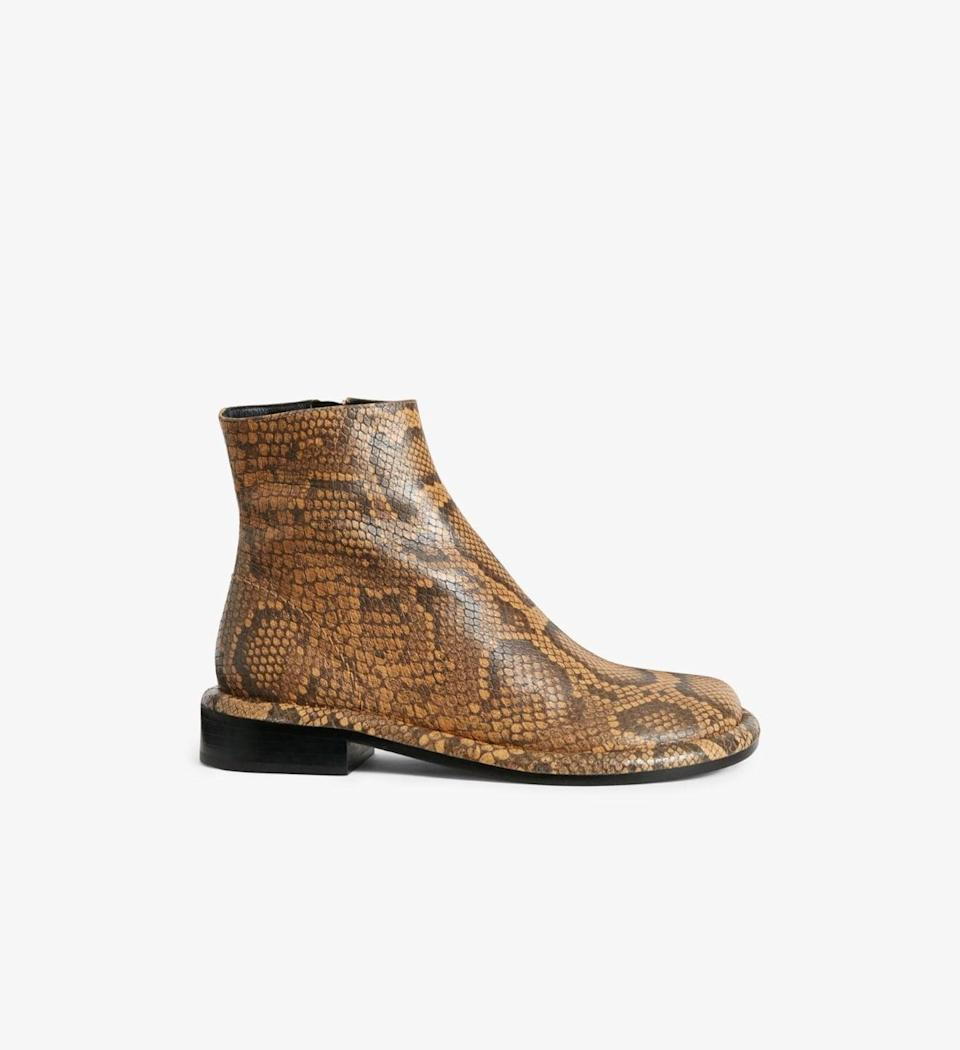 <p><span>Proenza Schouler Embossed Python Pipe Ankle Boots</span> ($995)</p>