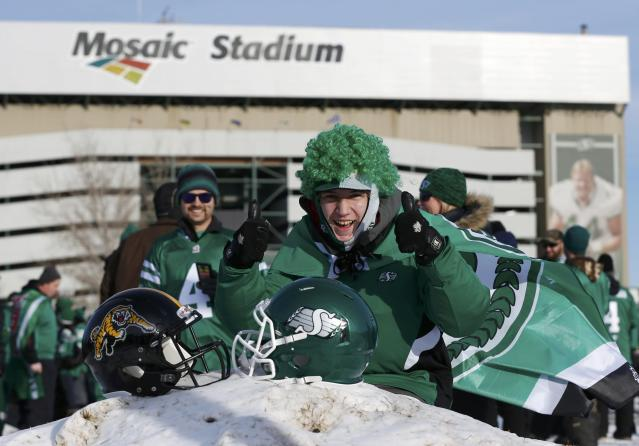 Fan Harrison Brownbridge arrives for the CFL's 101st Grey Cup championship football game between the Hamilton Tiger Cats and the Saskatchewan Roughriders in Regina, Saskatchewan November 24, 2013. REUTERS/Mark Blinch (CANADA - Tags: SPORT FOOTBALL)