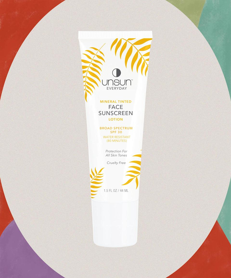"""Yes, <a href=""""https://www.refinery29.com/en-us/best-sunscreen-for-black-women-skin"""" rel=""""nofollow noopener"""" target=""""_blank"""" data-ylk=""""slk:Black people need sunscreen"""" class=""""link rapid-noclick-resp"""">Black people need sunscreen</a>. Use this one to protect yourself from concentrated UV rays while avoiding the dreaded white cast.<br><br><strong>Unsun Cosmetics</strong> Mineral Tinted Face Sunscreen Lotion - SPF 30, $, available at <a href=""""https://go.skimresources.com/?id=30283X879131&url=https%3A%2F%2Fwww.target.com%2Fp%2Funsun-cosmetics-mineral-tinted-face-sunscreen-lotion-spf-30-1-5-fl-oz%2F-%2FA-76165972"""" rel=""""nofollow noopener"""" target=""""_blank"""" data-ylk=""""slk:Target"""" class=""""link rapid-noclick-resp"""">Target</a>"""