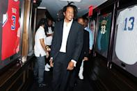<p>JAY-Z is all smiles to celebrate the 40/40 Club's 18th anniversary on Aug. 28 in N.Y.C.</p>