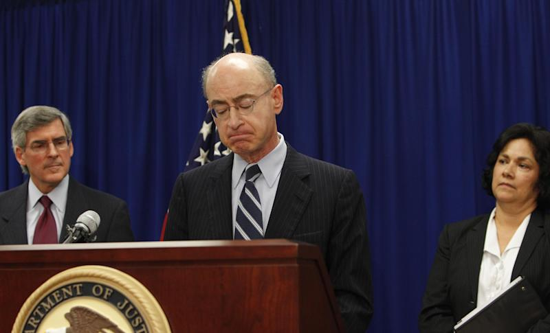 Daniel R. Levinson, Inspector General U.S. Department of Health and Human Services, right, pauses during a news conference Tuesday, Feb. 28, 2012, in Dallas. Looking on in background are Bill Corr, Deputy Secretary U.S. Department of Health, left, and United States Attorney Sarah R. Saldaña of the Northern District of Texas. Officials announced federal charges in what they called the largest case of medical fraud in U.S. history involving $375 million. (AP Photo/LM Otero)
