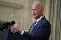 FILE - In this July 9, 2021, file photo, President Joe Biden is seen speaking in the State Dining Room of the White House in Washington. Approvals for permits to drill for oil and gas on federal lands dipped sharply when the Democrat first took office but have since rebounded. (AP Photo/Evan Vucci, File)