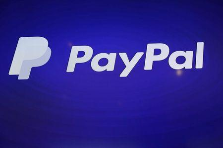 The PayPal logo is seen during an event at Terra Gallery in San Francisco