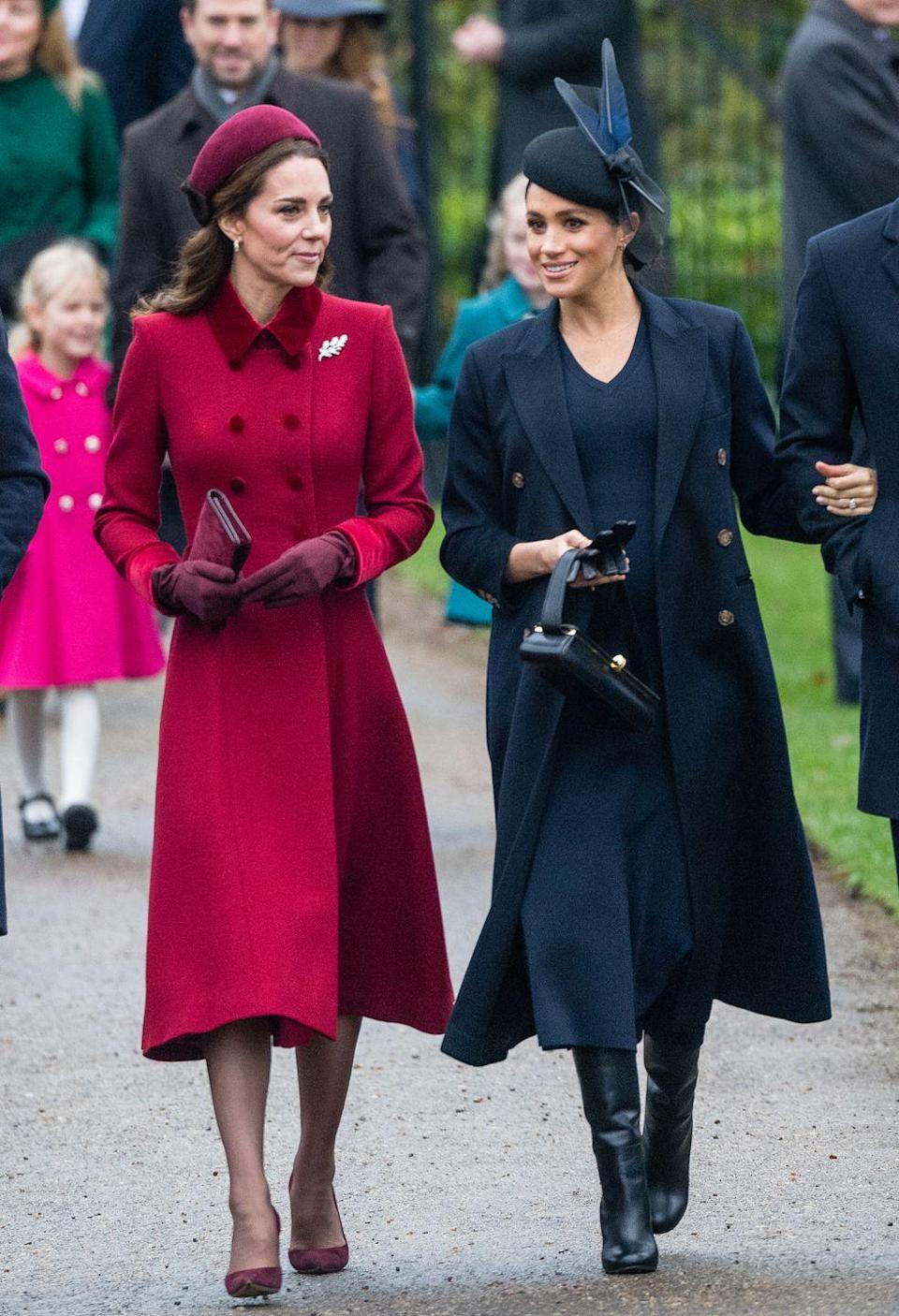 """<p>Talk about controversial. You can see a full timeline of rumors about the sister-in-laws' relationship <a href=""""https://www.elle.com/culture/celebrities/a25350670/kate-middleton-meghan-markle-feud-timeline/"""" rel=""""nofollow noopener"""" target=""""_blank"""" data-ylk=""""slk:here"""" class=""""link rapid-noclick-resp"""">here</a>, but remember that that's exactly what they are: rumors. Royal fans started labeling themselves """"Team Meghan"""" and """"Team Kate,"""" and were even convinced the royals were faking their relationship for moments like this (Christmas at Sandringham with the Queen).</p>"""