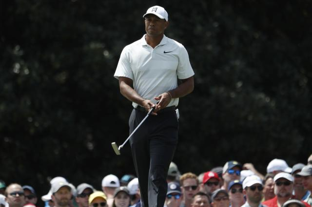 Tiger Woods of the U.S. watches his putt on the first green during second round play of the 2018 Masters golf tournament at the Augusta National Golf Club in Augusta, Georgia, U.S., April 6, 2018. REUTERS/Jonathan Ernst