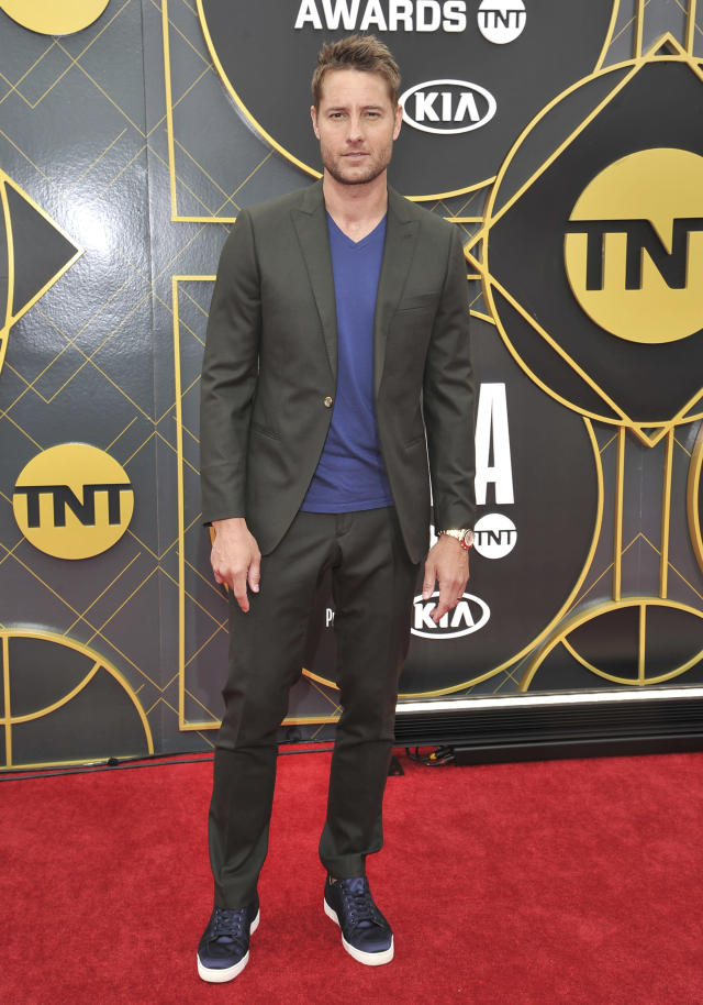 Justin Hartley arrives at the NBA Awards on Monday, June 24, 2019, at the Barker Hangar in Santa Monica, Calif. (Photo by Richard Shotwell/Invision/AP)